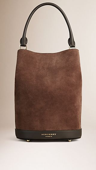 Sac Burberry Bucket en cuir velours