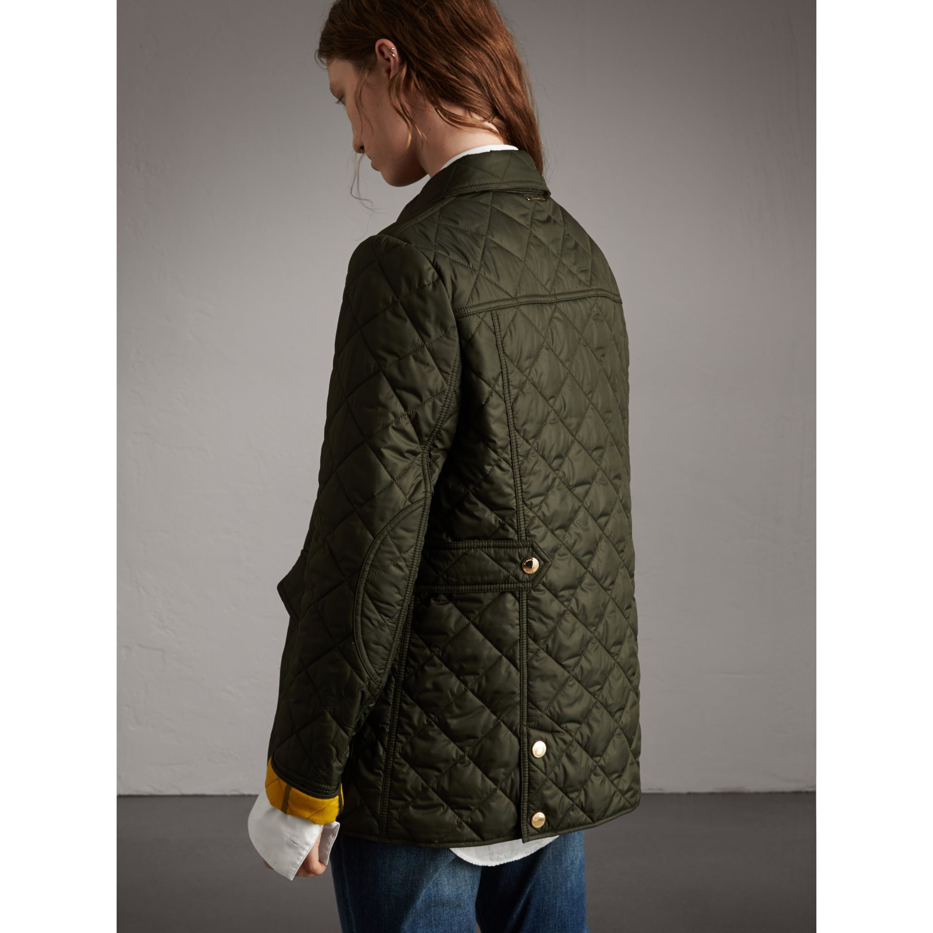 Check Detail Diamond Quilted Jacket in Military Green - Women | Burberry - gallery image 3