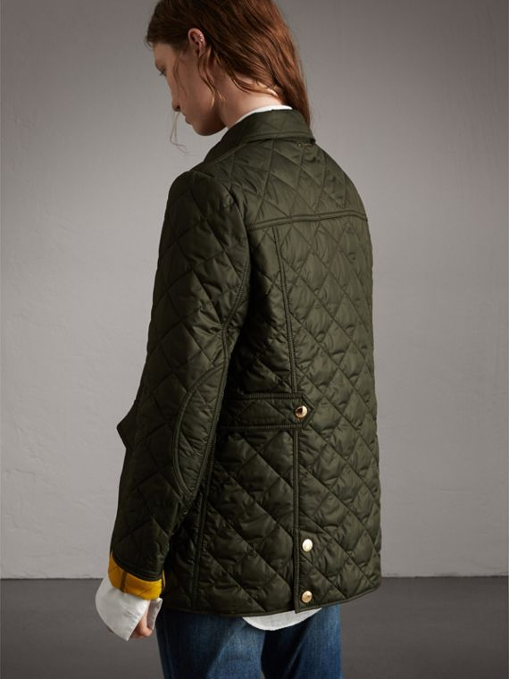 Check Detail Diamond Quilted Jacket in Military Green - Women | Burberry - cell image 2