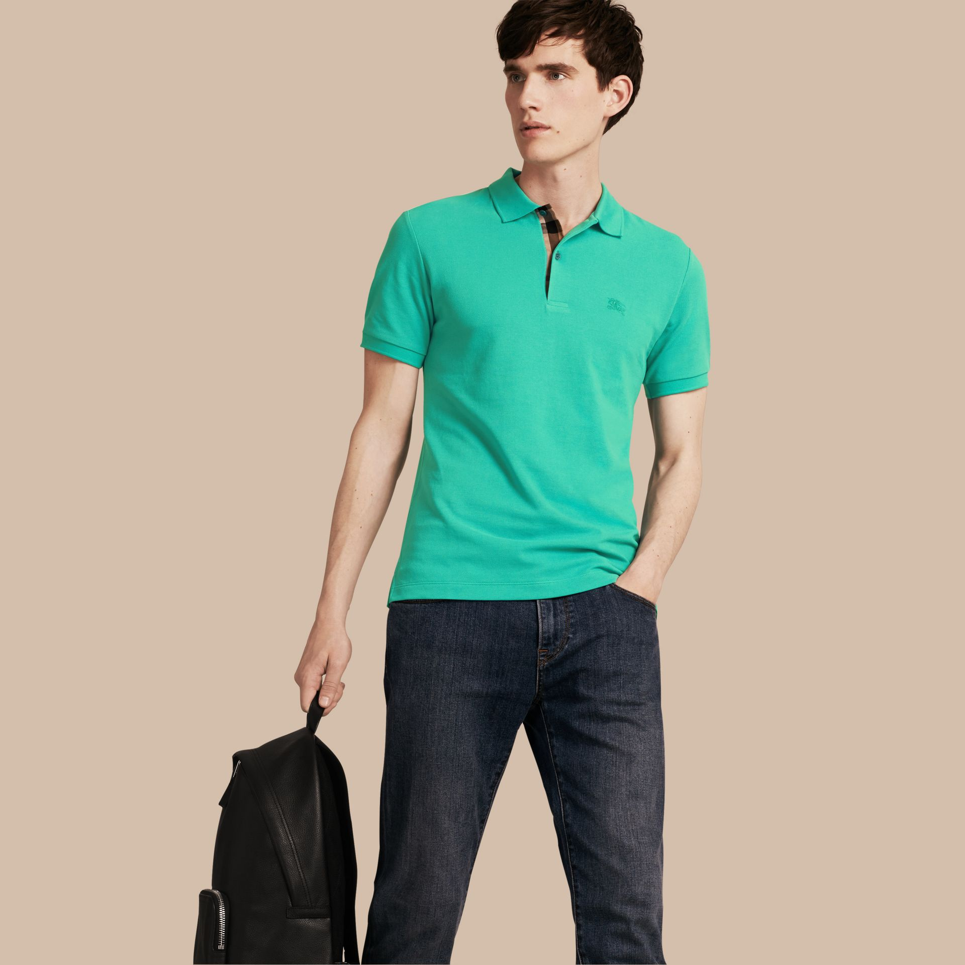 Cyan green Check Placket Cotton Piqué Polo Shirt Cyan Green - gallery image 1