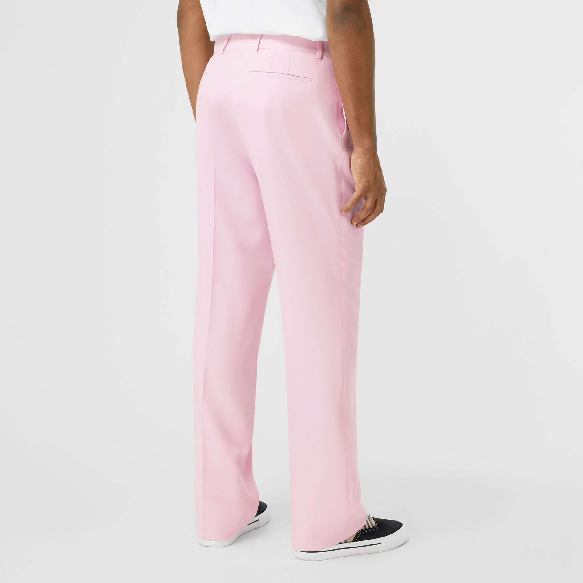 Tumbled Wool Wide-leg Tailored Trousers in Candy Pink - Men | Burberry - gallery image 2
