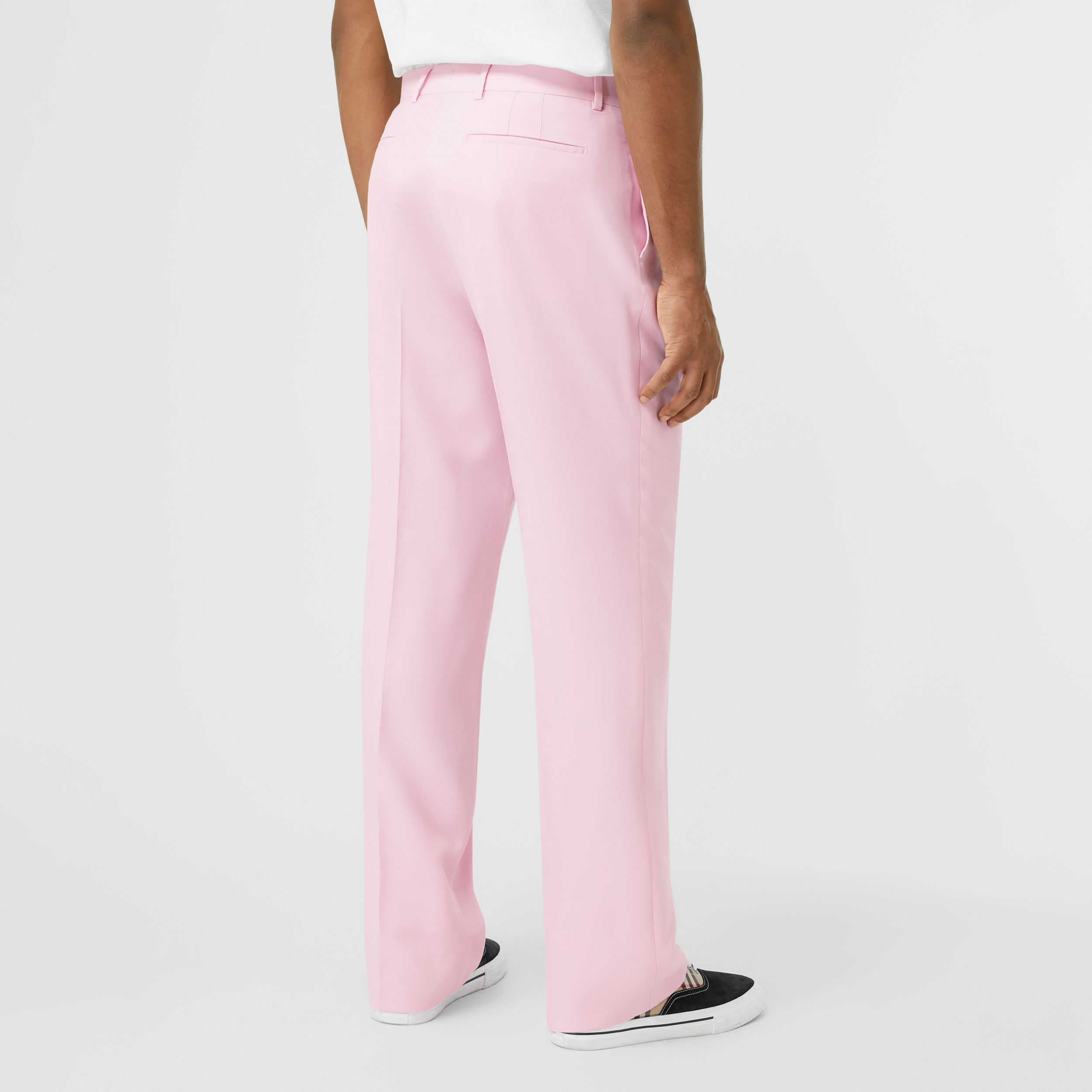 Tumbled Wool Wide-leg Tailored Trousers in Candy Pink - Men | Burberry Hong Kong S.A.R - 3