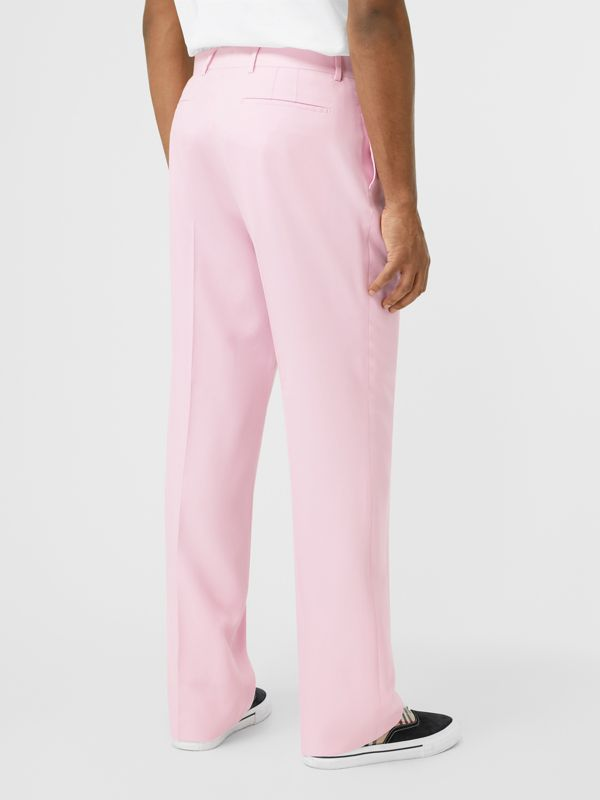 Tumbled Wool Wide-leg Tailored Trousers in Candy Pink - Men | Burberry - cell image 2