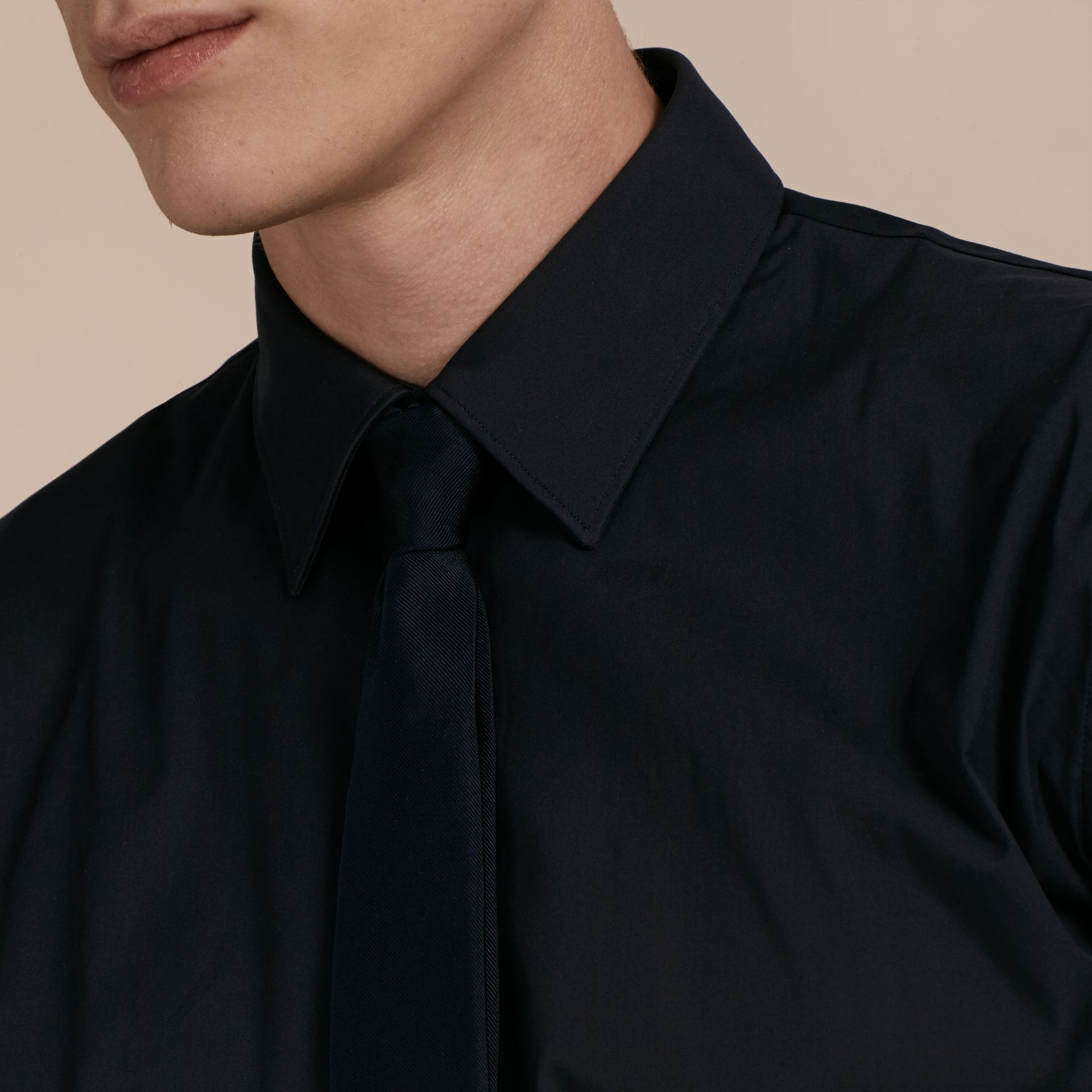 Slim Fit Stretch Cotton Shirt in Navy - gallery image 5