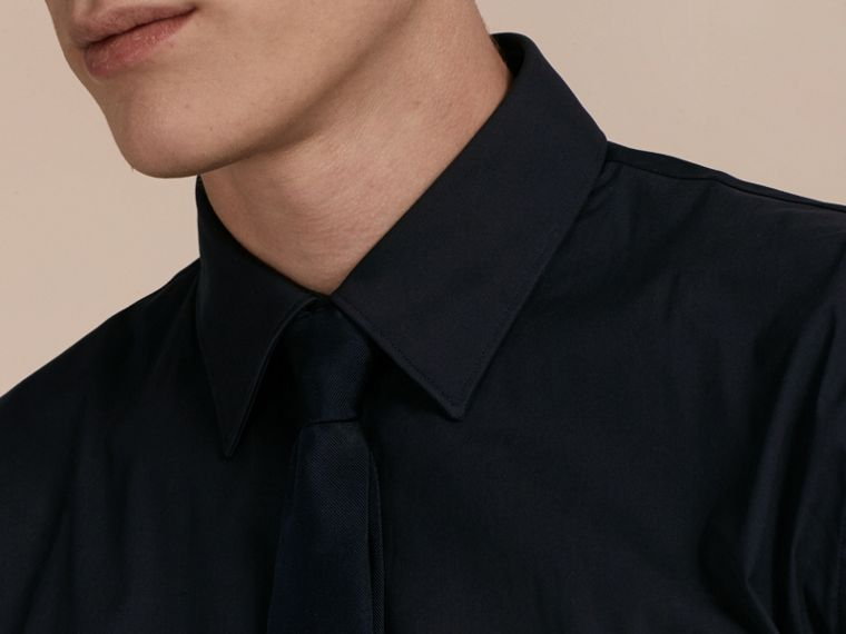 Slim Fit Stretch Cotton Shirt in Navy - cell image 4