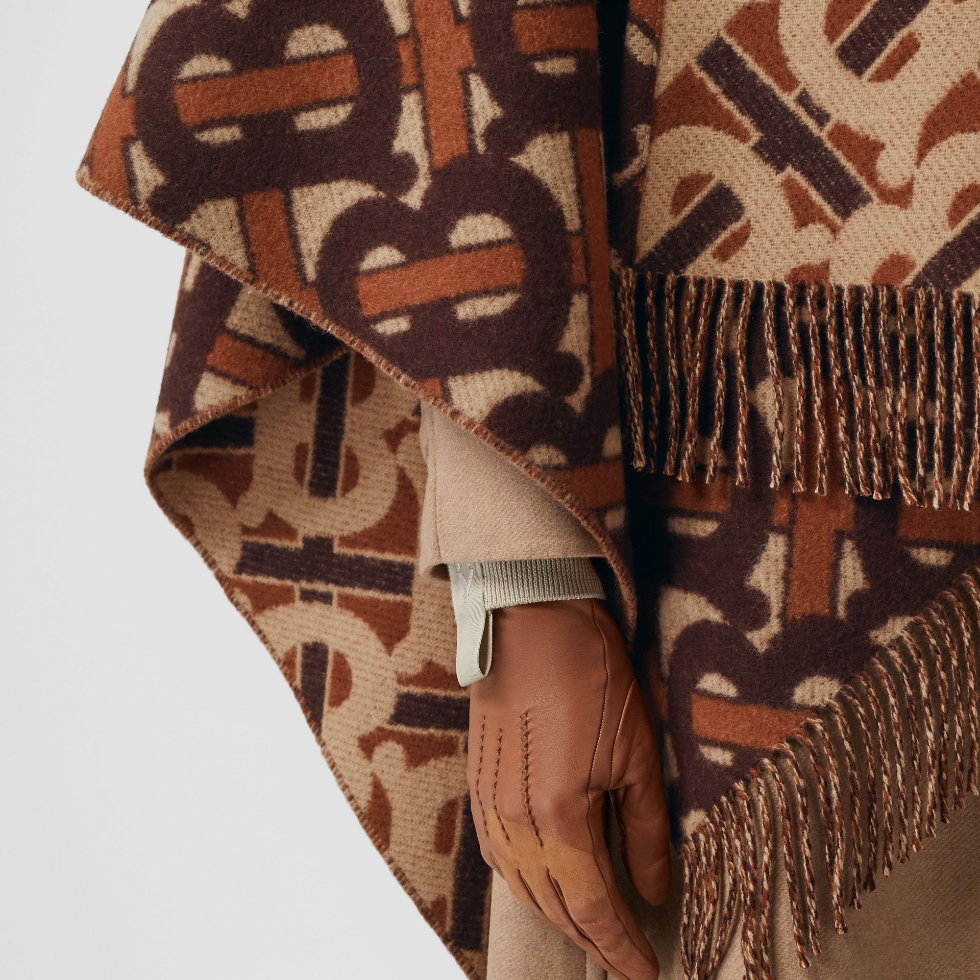 Monogram Merino Wool Cashmere Jacquard Cape in Dark Mocha - Women | Burberry Canada - gallery image 4