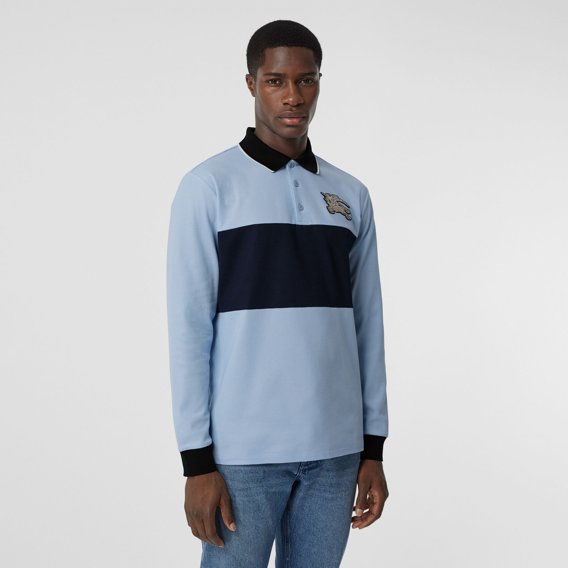 Long-sleeve Logo Graphic Cotton Piqué Polo Shirt in Pale Blue - Men | Burberry - gallery image 5
