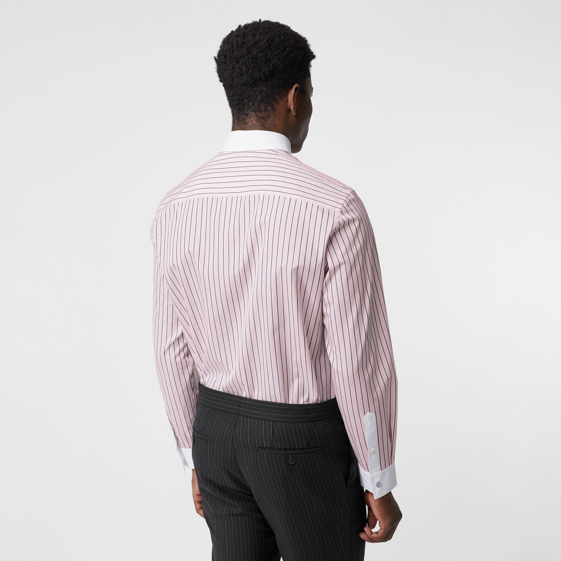 Classic Fit Monogram Motif Striped Cotton Shirt in Alabaster Pink - Men | Burberry - gallery image 2