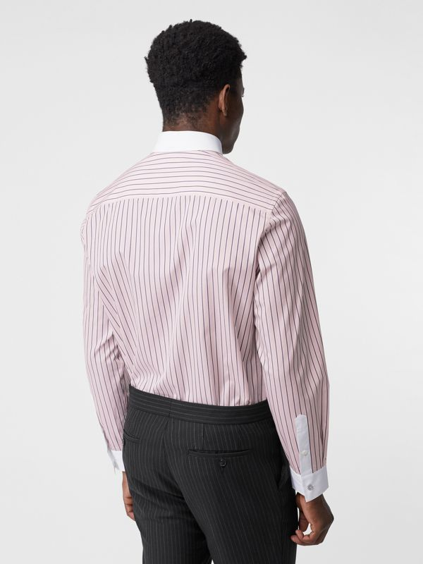 Classic Fit Monogram Motif Striped Cotton Shirt in Alabaster Pink - Men | Burberry - cell image 2