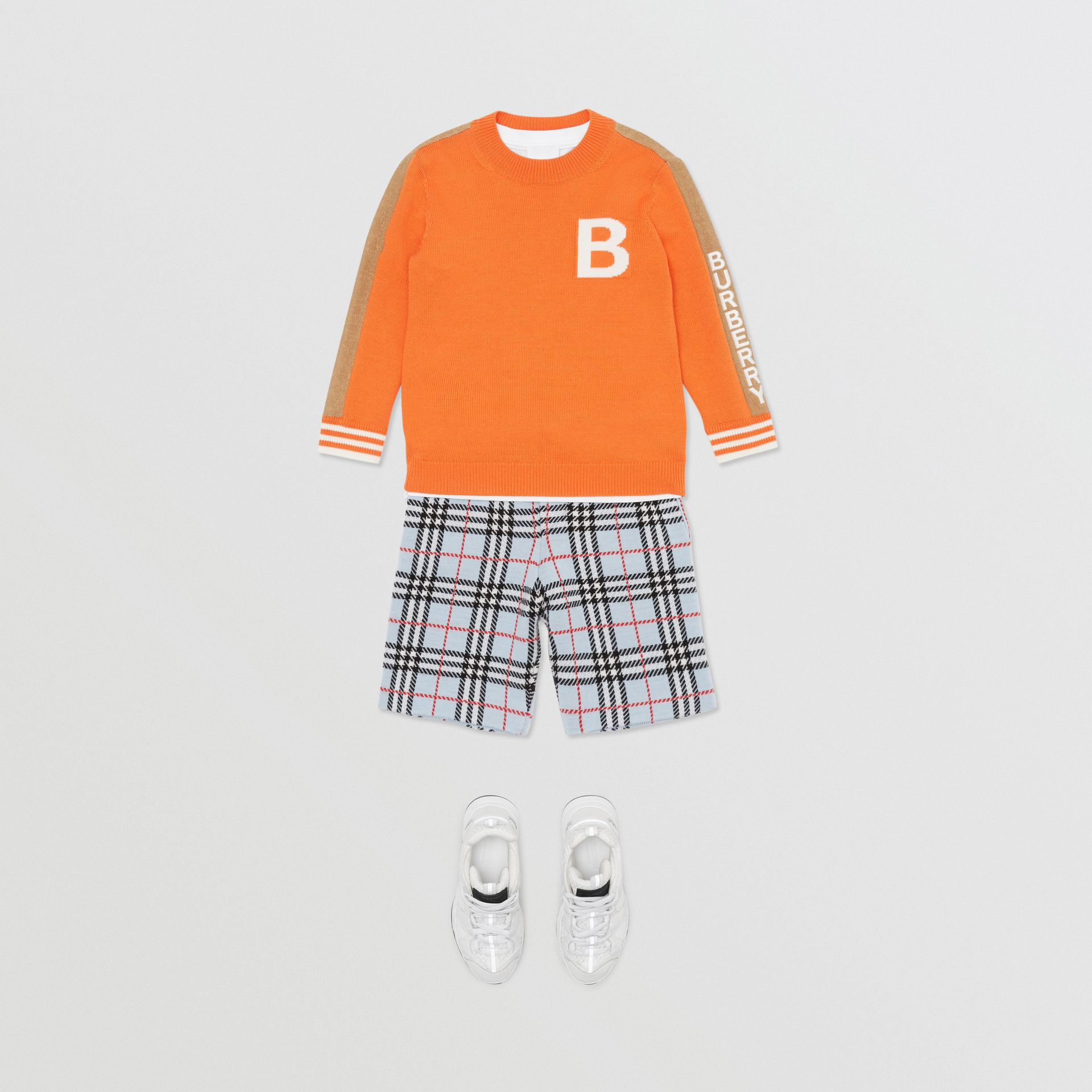 B Motif Merino Wool Jacquard Sweater in Bright Orange | Burberry United Kingdom - gallery image 3