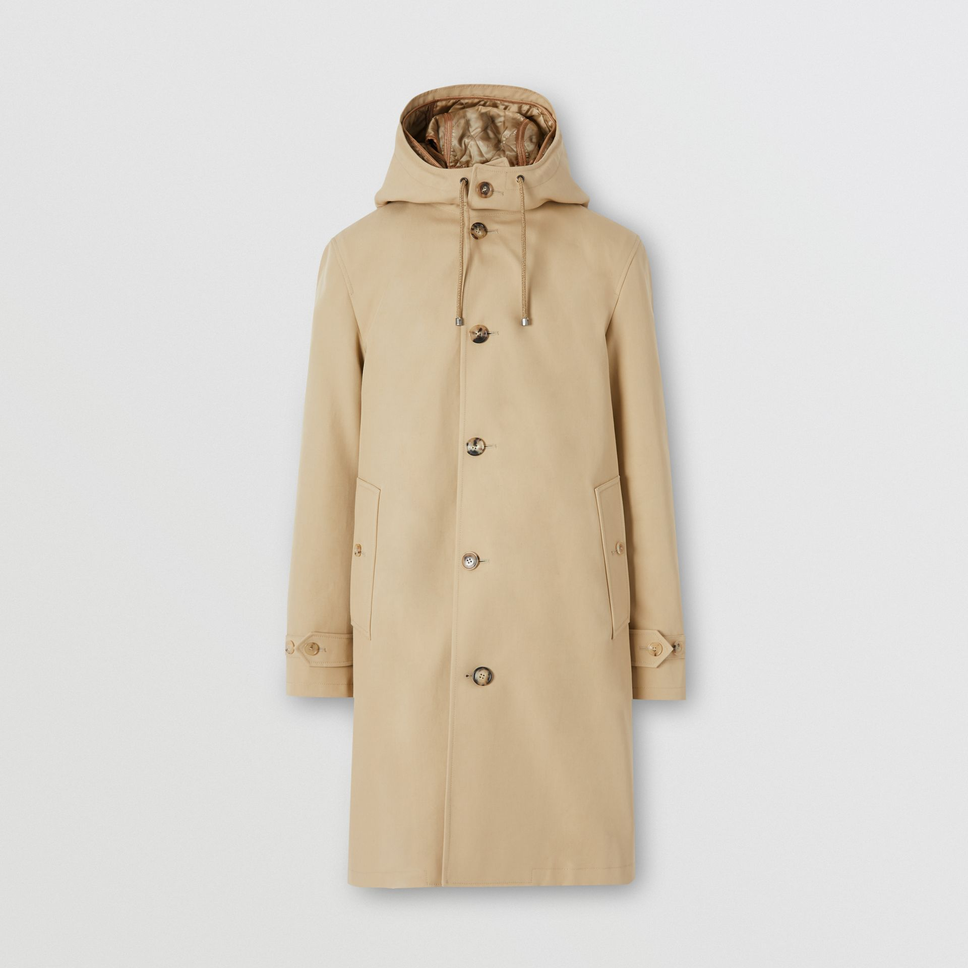 Cotton Gabardine Coat with Detachable Warmer in Honey - Men | Burberry - gallery image 3