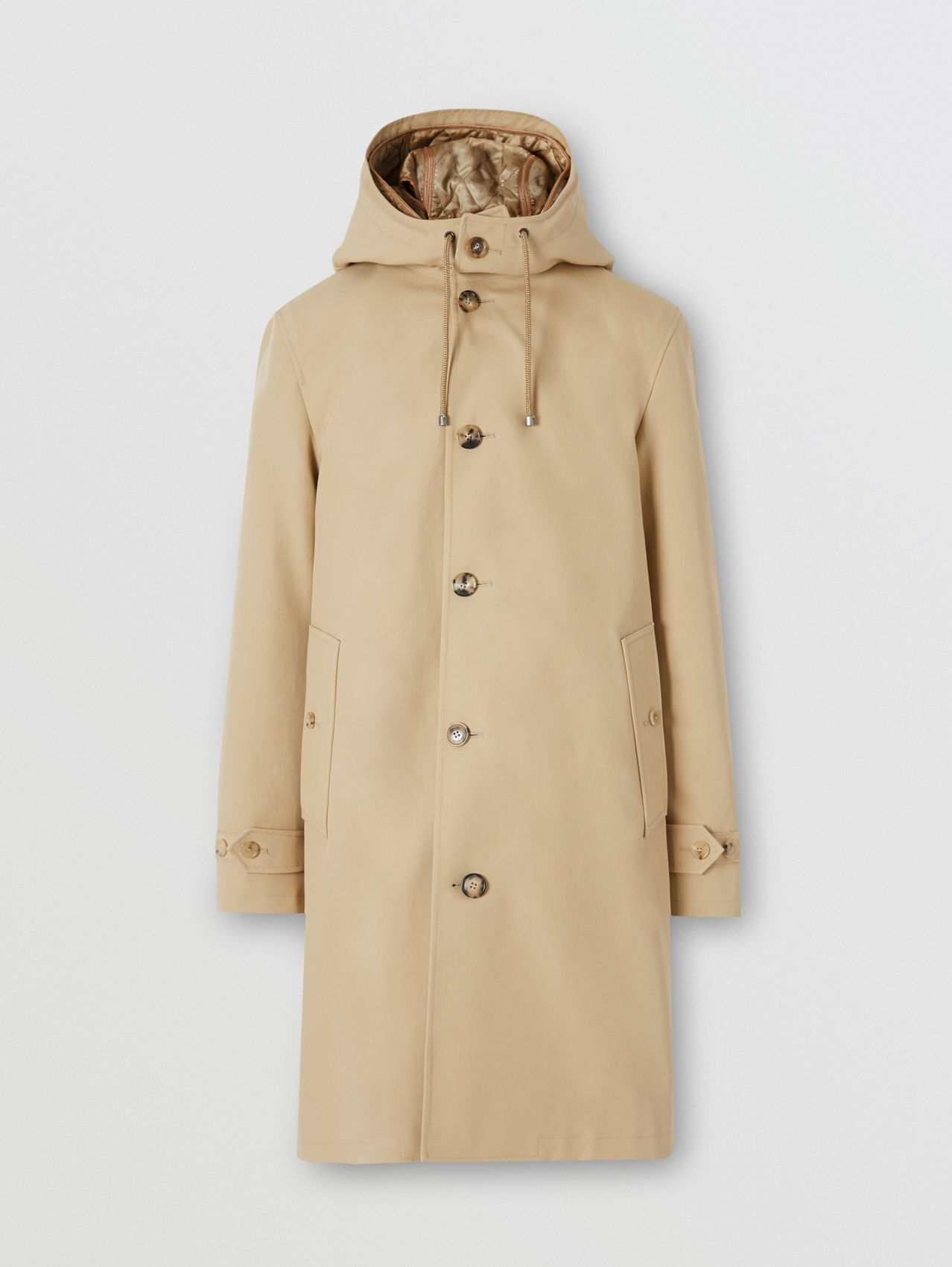 Cotton Gabardine Coat with Detachable Warmer in Honey