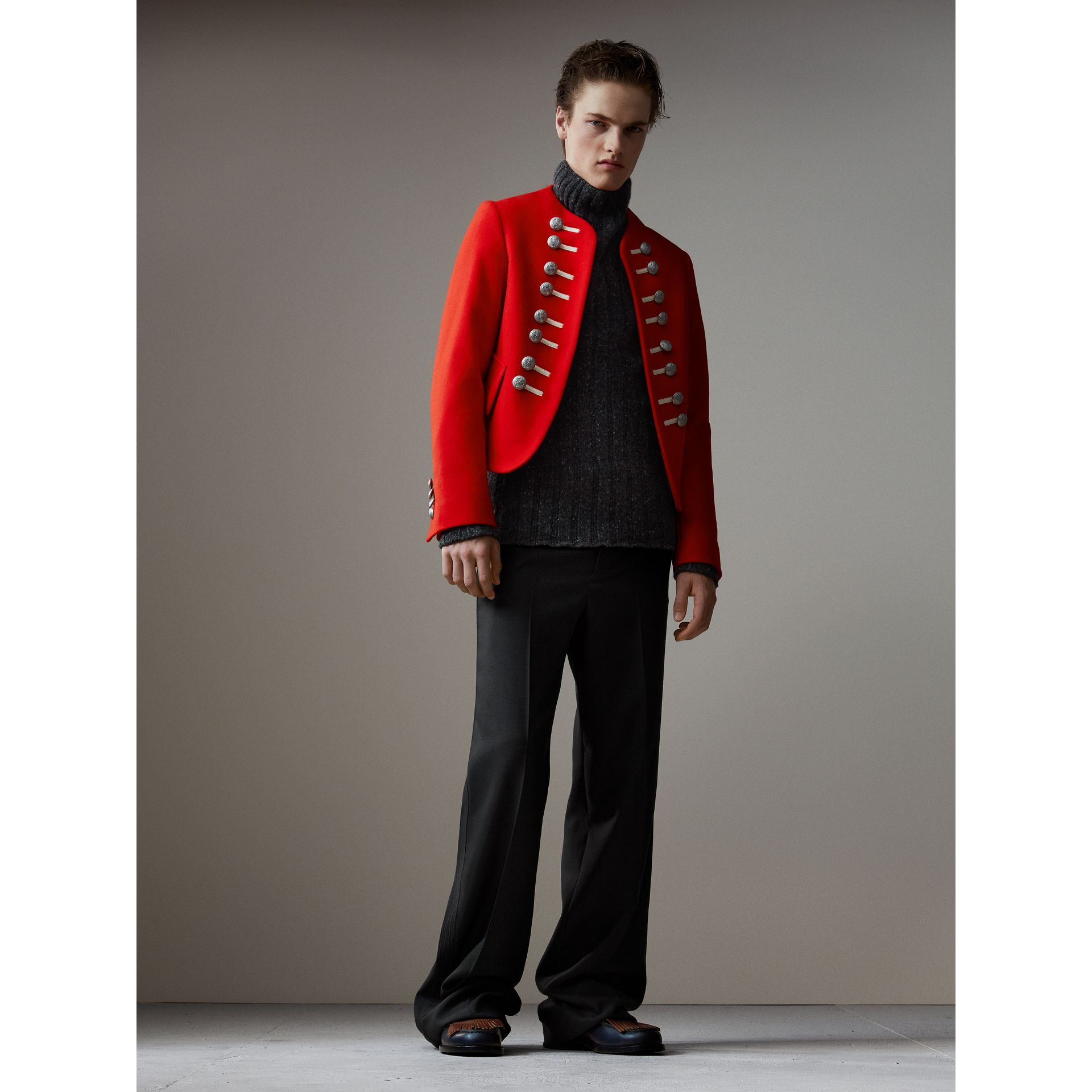 Wool Cropped Ceremonial Jacket in Orange Red - Men | Burberry Australia - gallery image 1