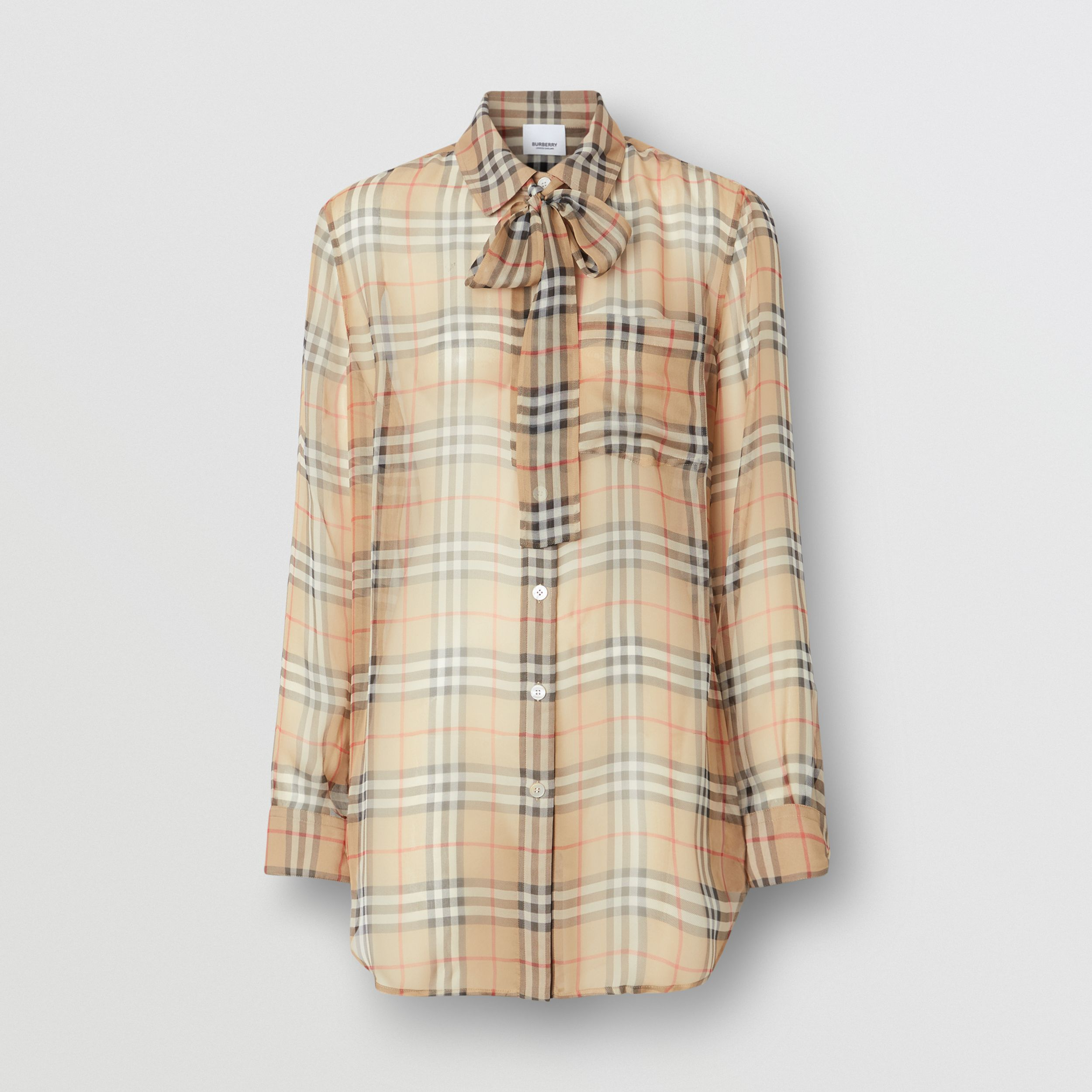 Vintage Check Silk Tie-neck Shirt in Archive Beige - Women | Burberry - 4