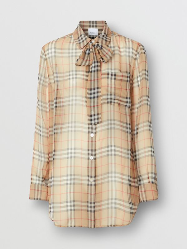 Vintage Check Silk Tie-neck Shirt in Archive Beige - Women | Burberry Singapore - cell image 3