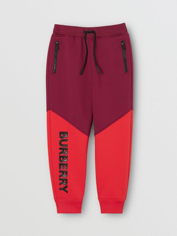 Logo Print Two-tone Stretch Jersey Trackpants in Dark Burgundy