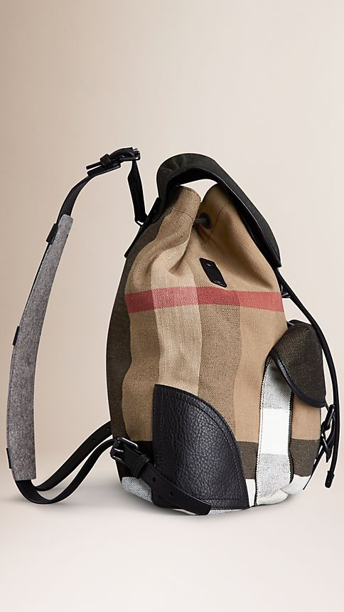 Camel Canvas Check Backpack - Image 4