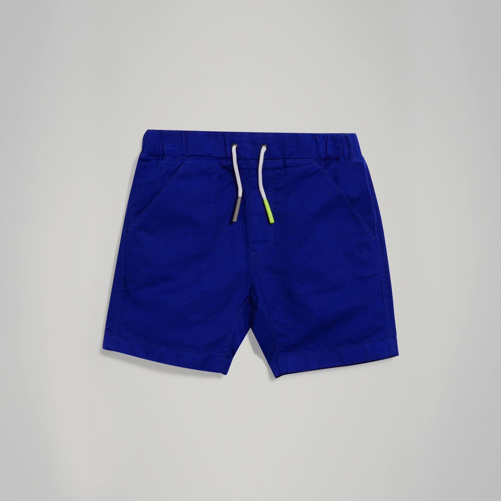 Drawcord Cotton Linen Twill Shorts in Brilliant Blue - Boy | Burberry - gallery image 0