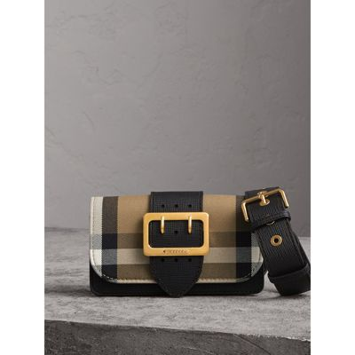 Small Buckle House Check & Leather Convertible Clutch - Black