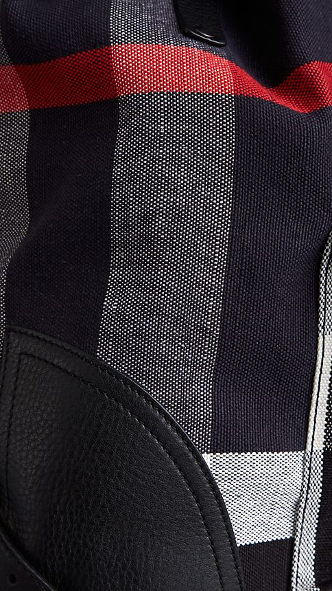 Navy Canvas Check Backpack - Image 7