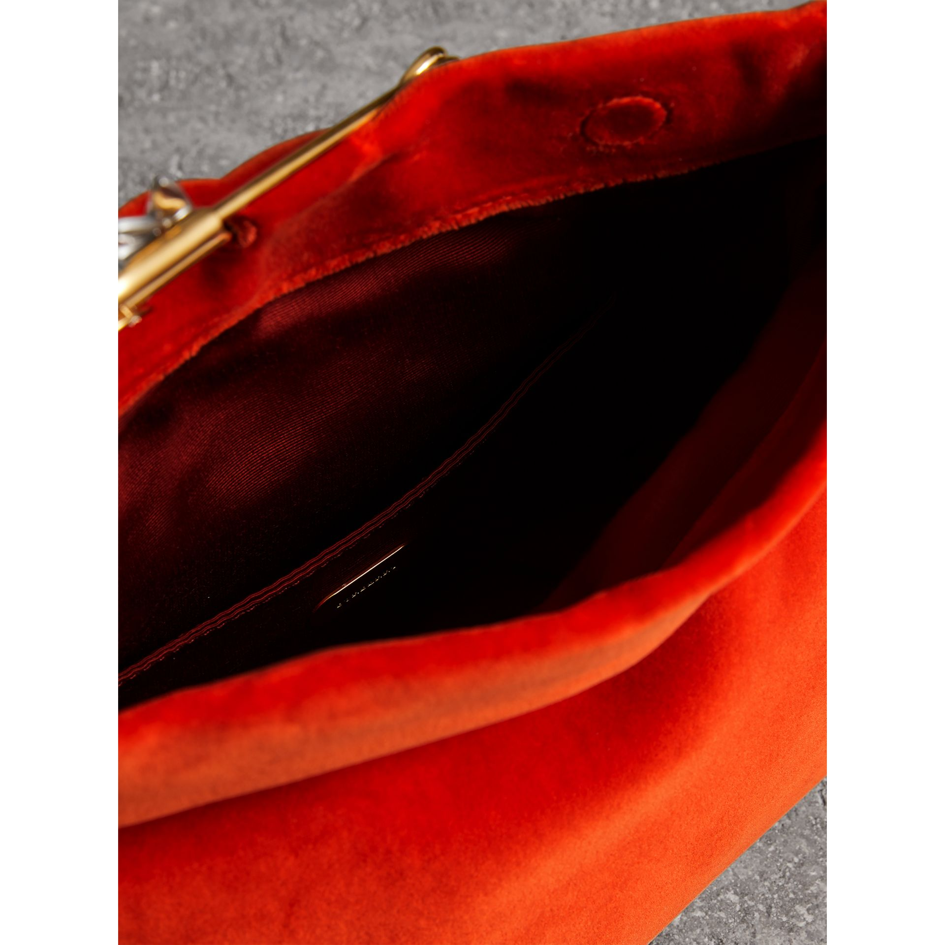 The Small Pin Clutch in Velvet in Orange Red - Women | Burberry United Kingdom - gallery image 3