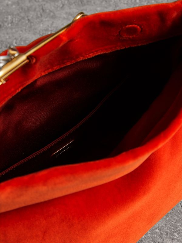 The Small Pin Clutch in Velvet in Orange Red - Women | Burberry United Kingdom - cell image 3