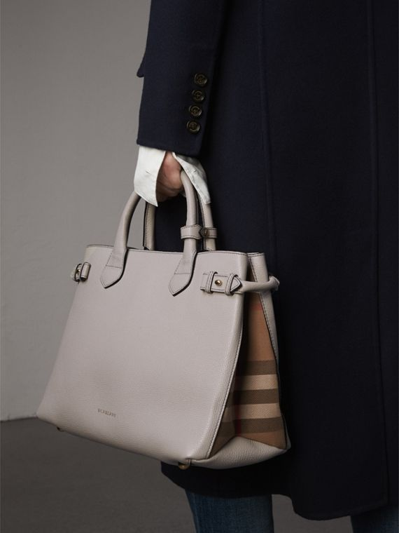 The Medium Banner in Leather and House Check in Light Grey Melange - Women | Burberry Hong Kong - cell image 3