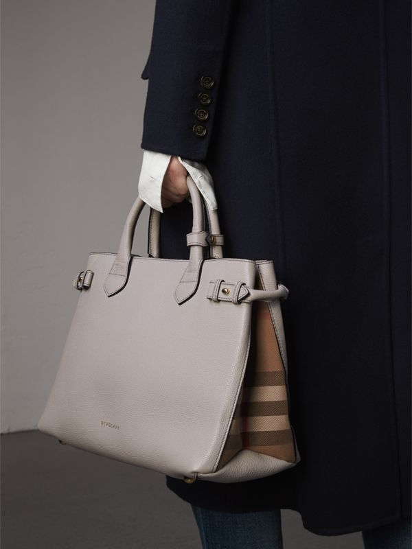 The Medium Banner in Leather and House Check in Light Grey Melange - Women | Burberry - cell image 3