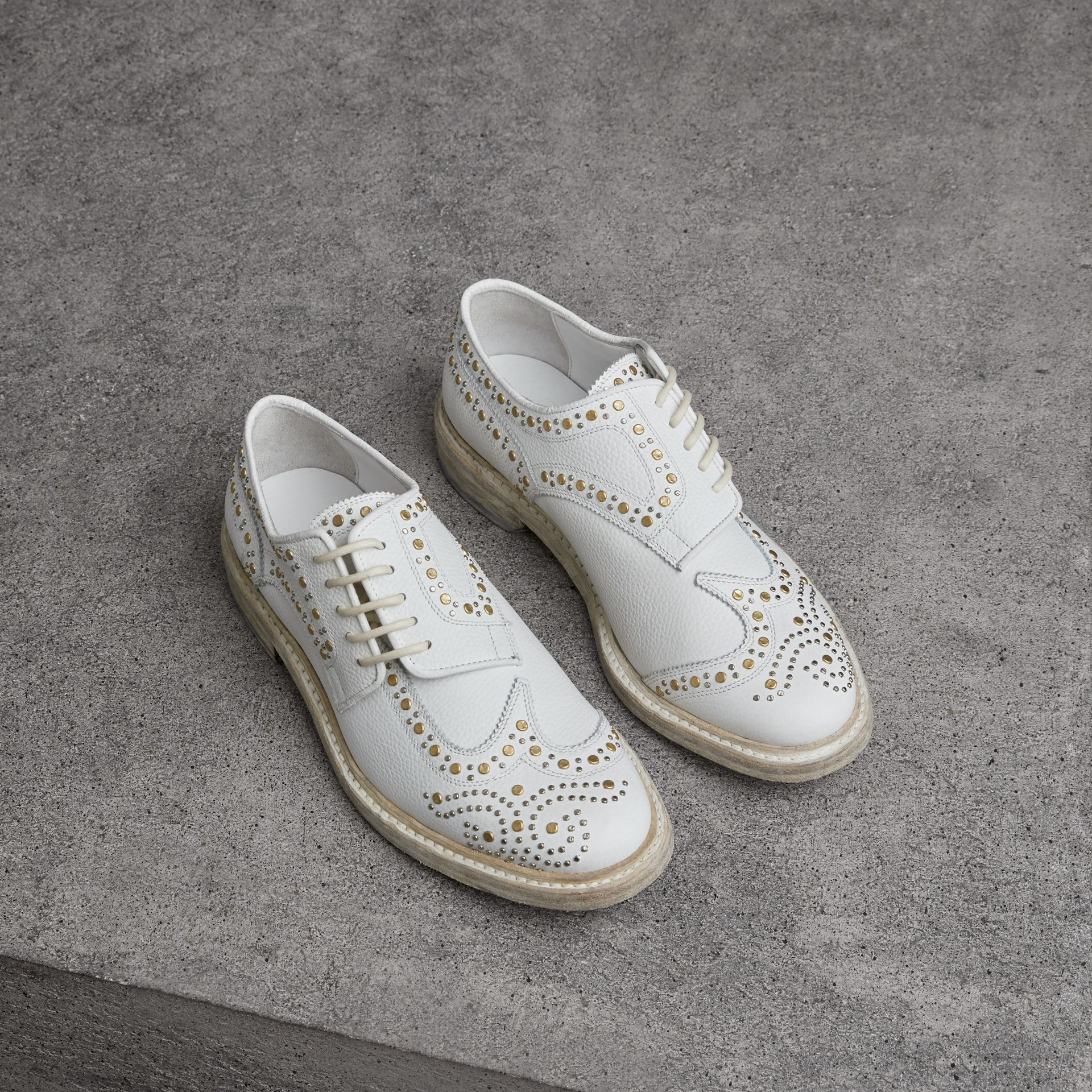 Asymmetric Closure Riveted Leather Brogues in Optic White - Women | Burberry - gallery image 0