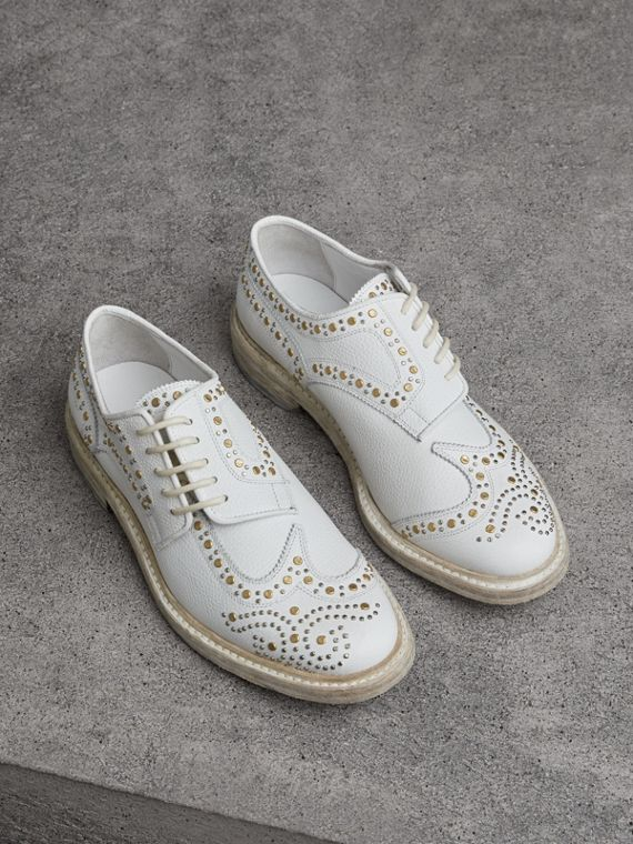 Asymmetric Closure Riveted Leather Brogues in Optic White