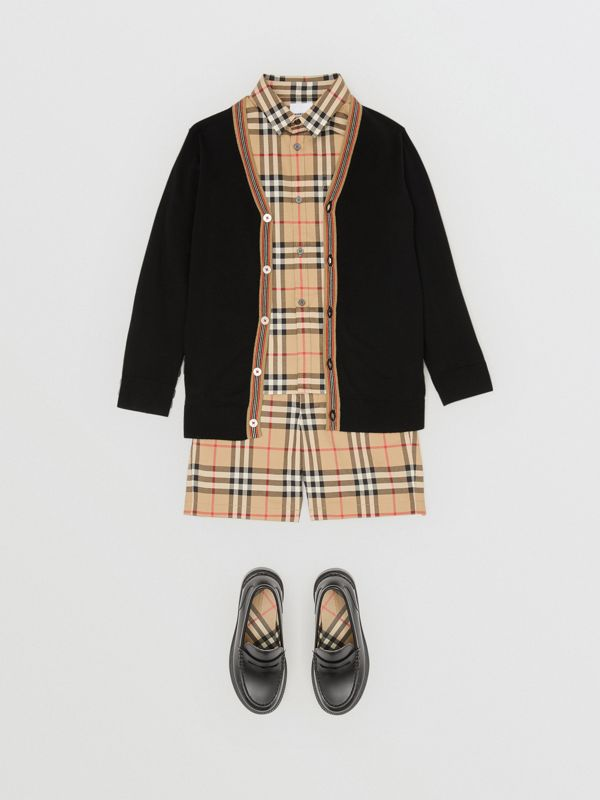 Icon Stripe Detail Merino Wool Cardigan in Black | Burberry - cell image 3