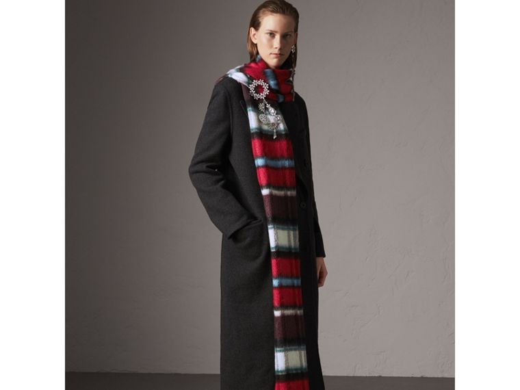 Wool Cashmere Double-breasted Coat in Grey/black - Women | Burberry Australia - cell image 4