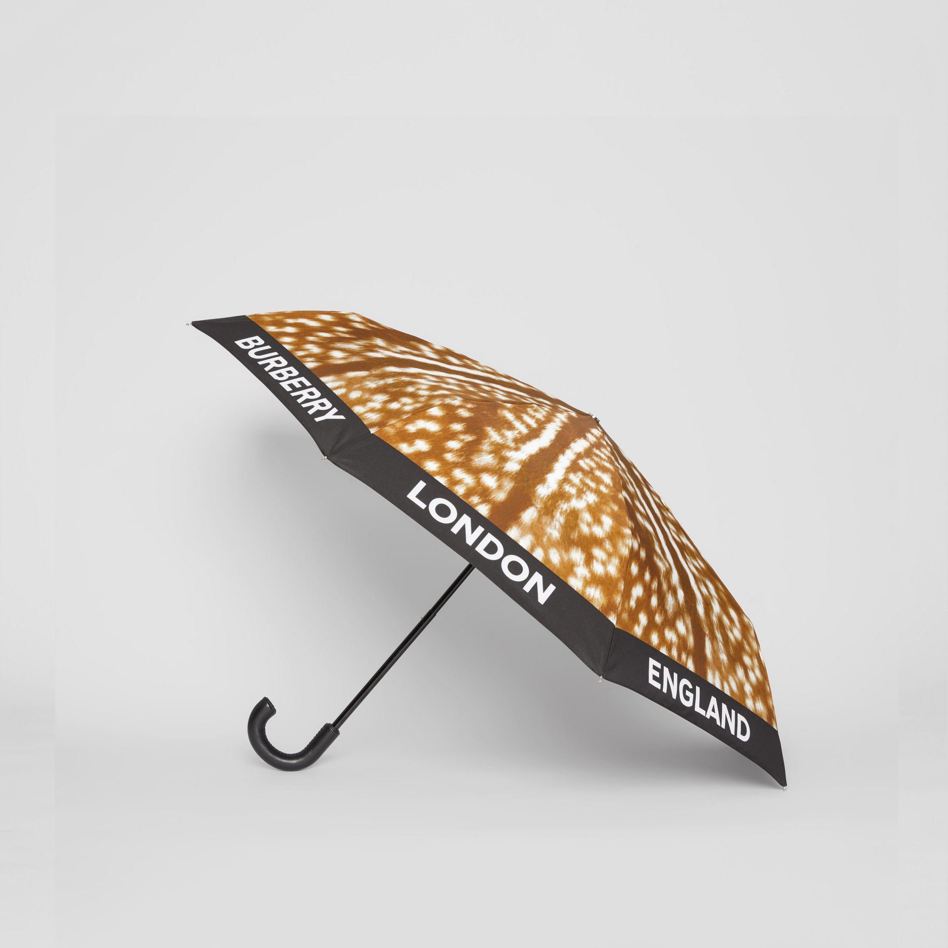 Deer Print Folding Umbrella in Honey | Burberry - gallery image 3