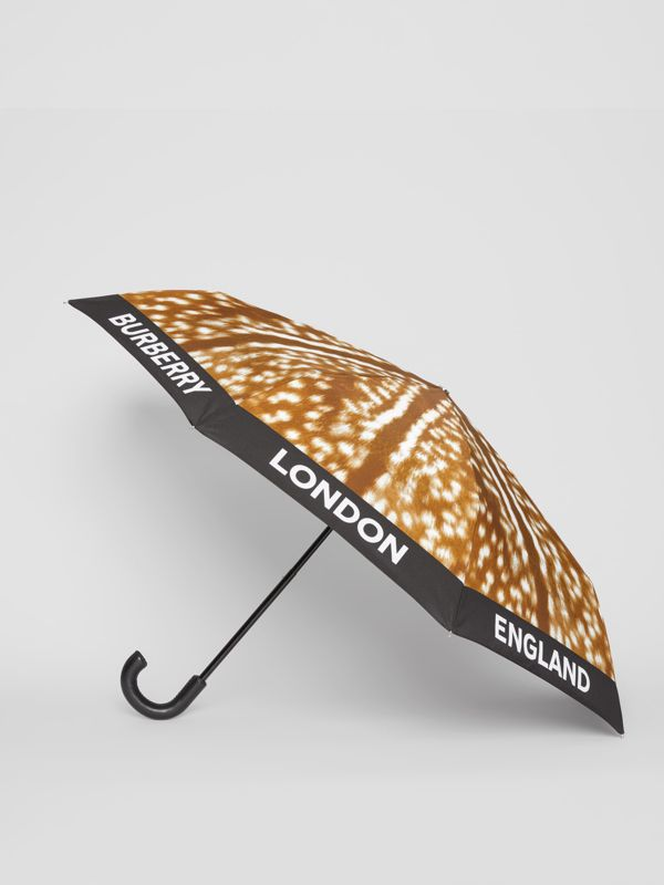 Deer Print Folding Umbrella in Honey | Burberry - cell image 3