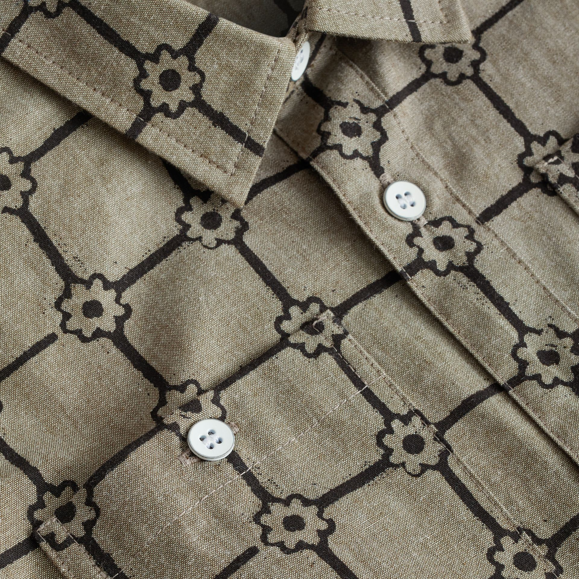 Flower Print Cotton Shirt in Khaki | Burberry Australia - gallery image 1