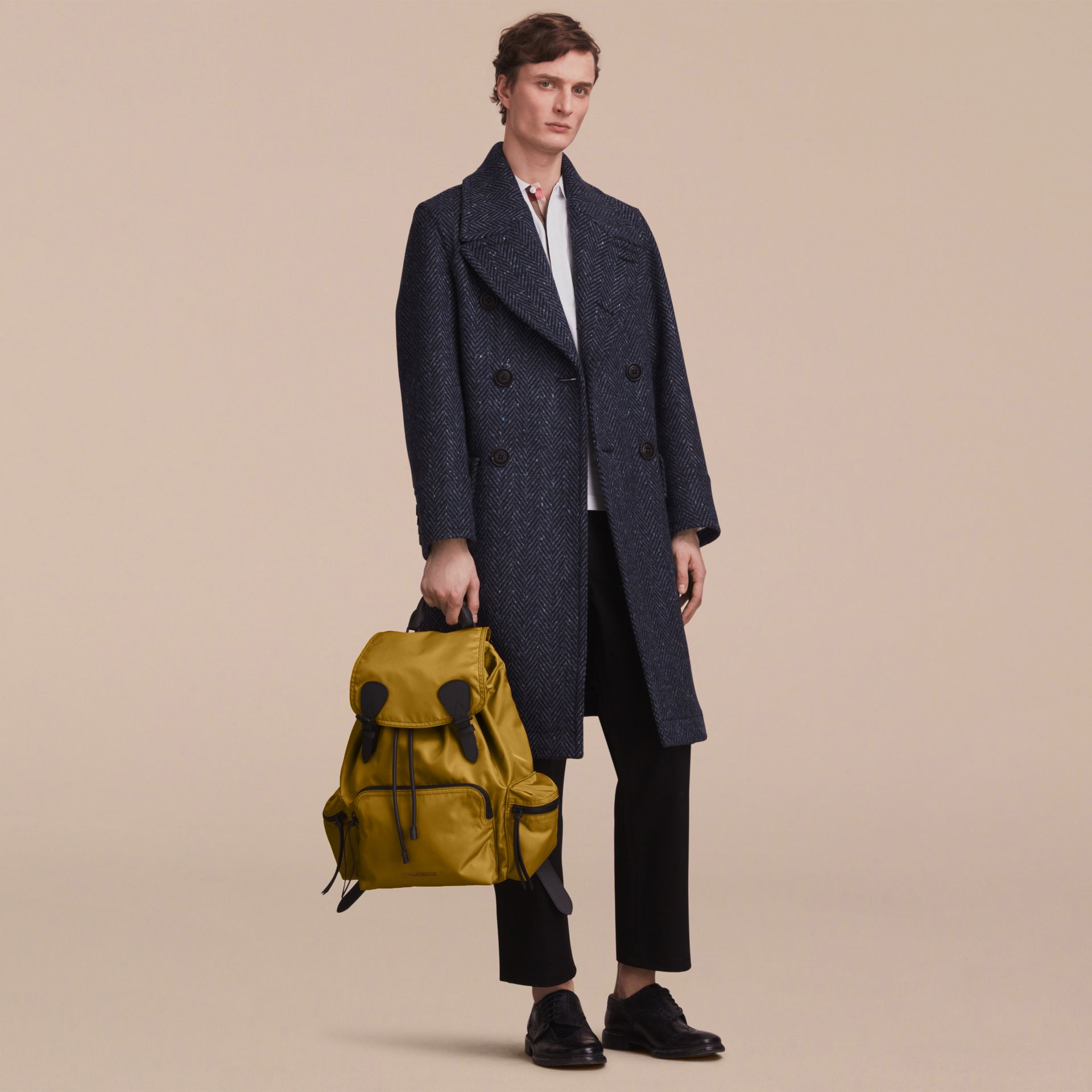 The Large Rucksack in Technical Nylon and Leather in Ochre Yellow - Men | Burberry - gallery image 3