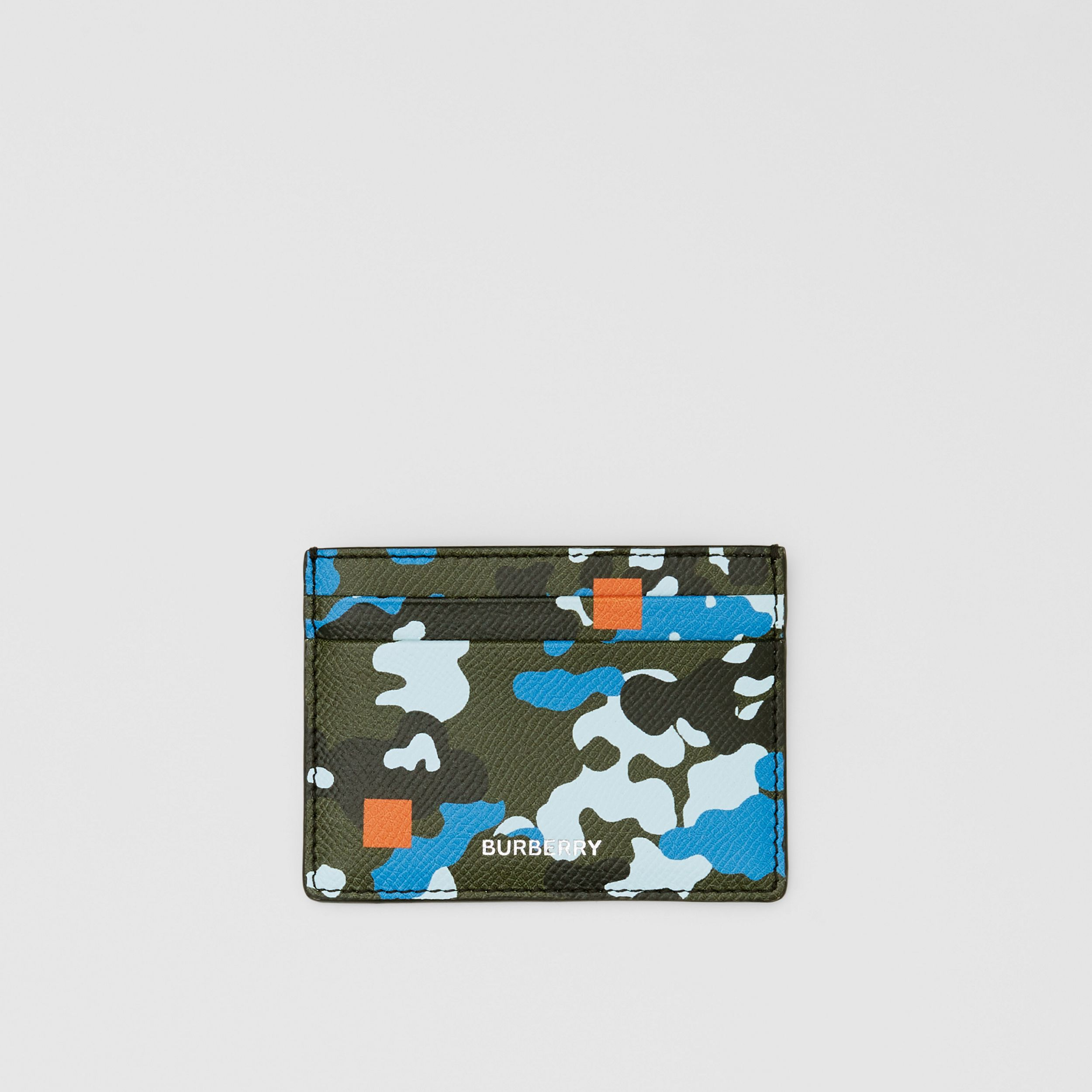 Camouflage Print Grainy Leather Card Case in Blue - Men | Burberry - 1