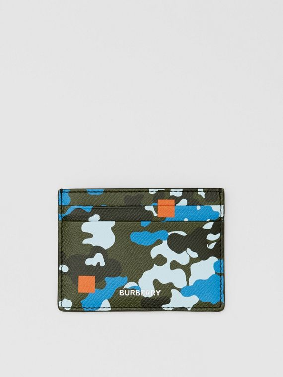 Camouflage Print Grainy Leather Card Case in Blue
