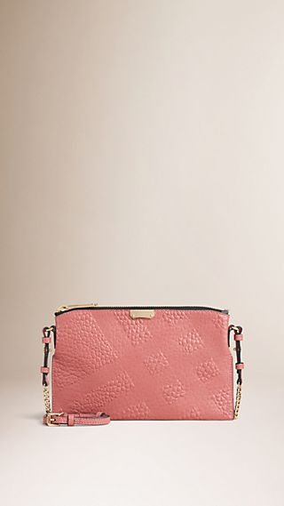 Check-embossed Leather Clutch Bag Antique Rose