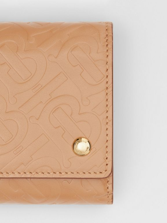 Small Monogram Leather Folding Wallet in Light Camel - Women | Burberry Singapore - cell image 1