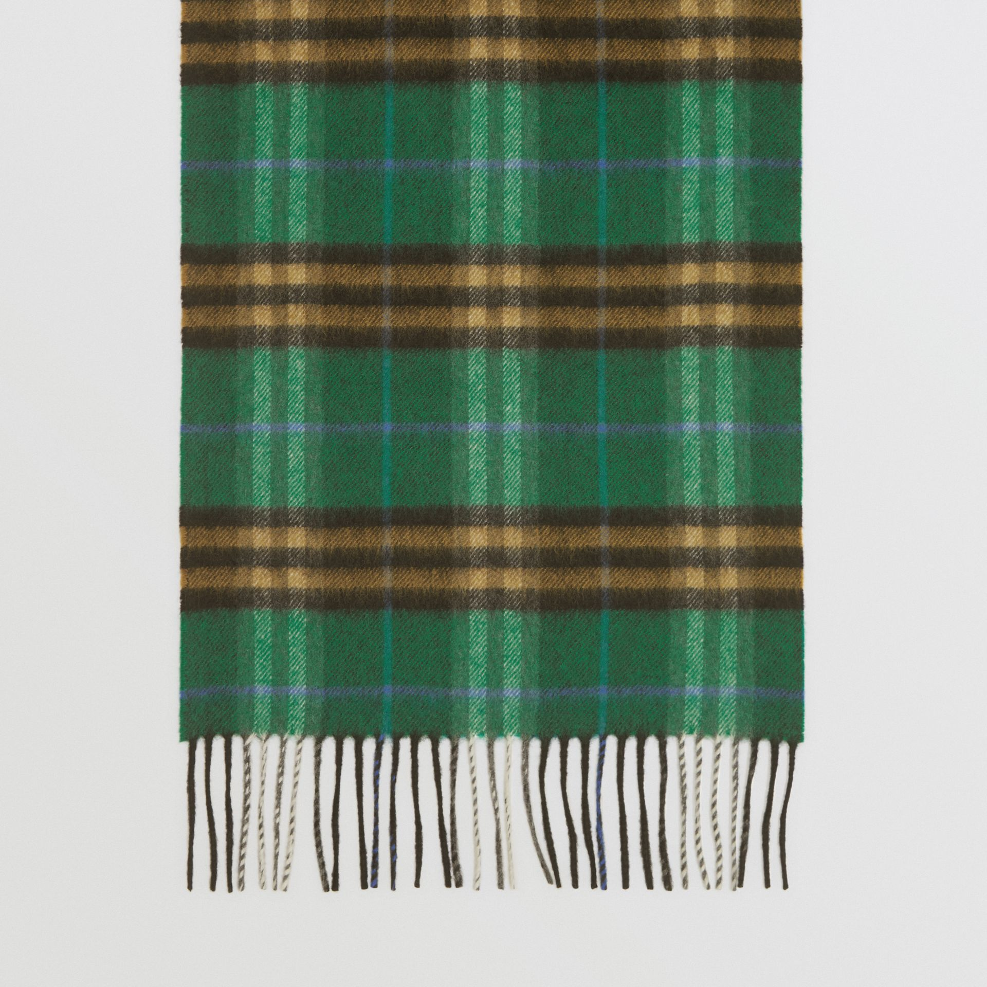 Check Cashmere Scarf in Forest Green | Burberry - gallery image 4