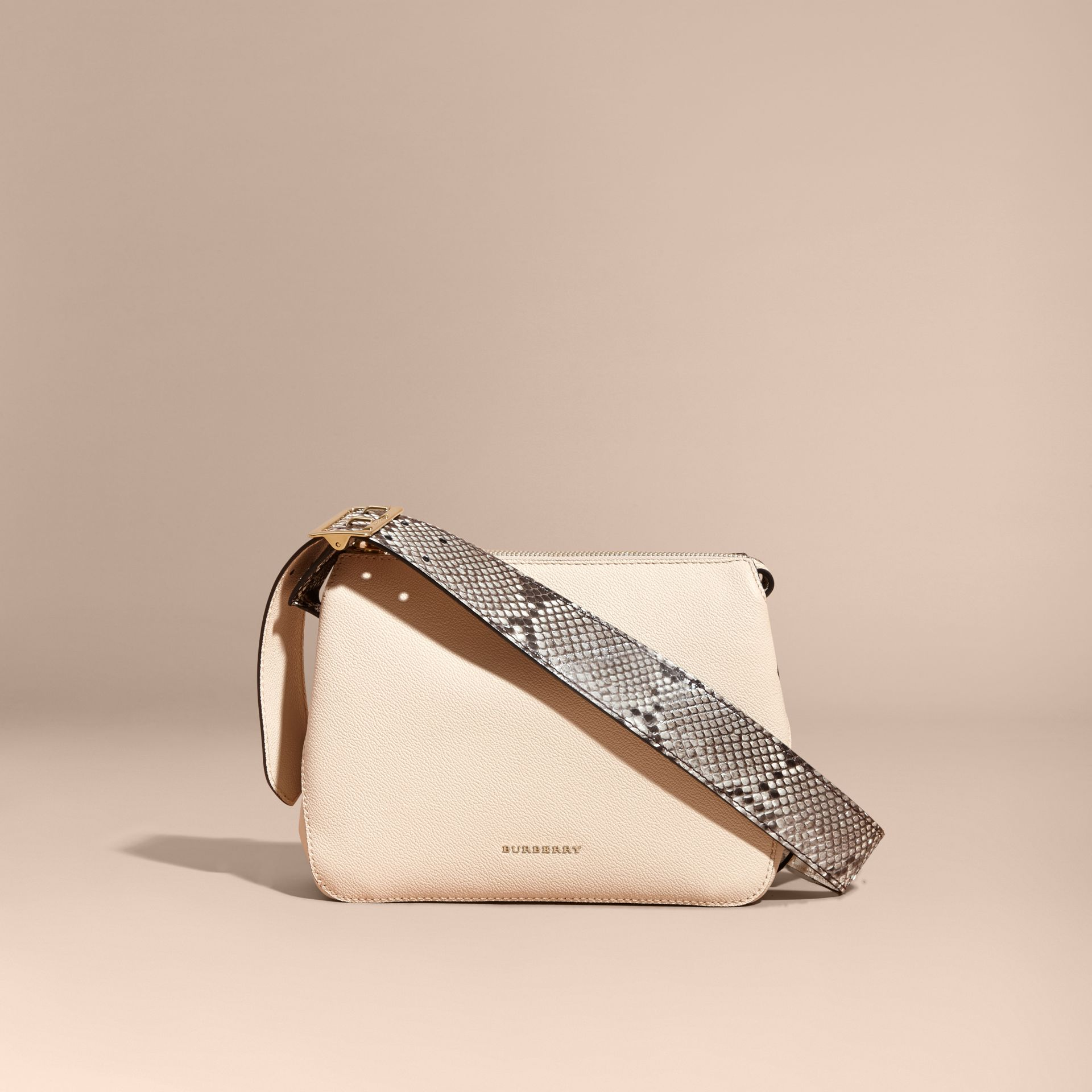 Limestone Python and Leather Crossbody Bag - gallery image 8