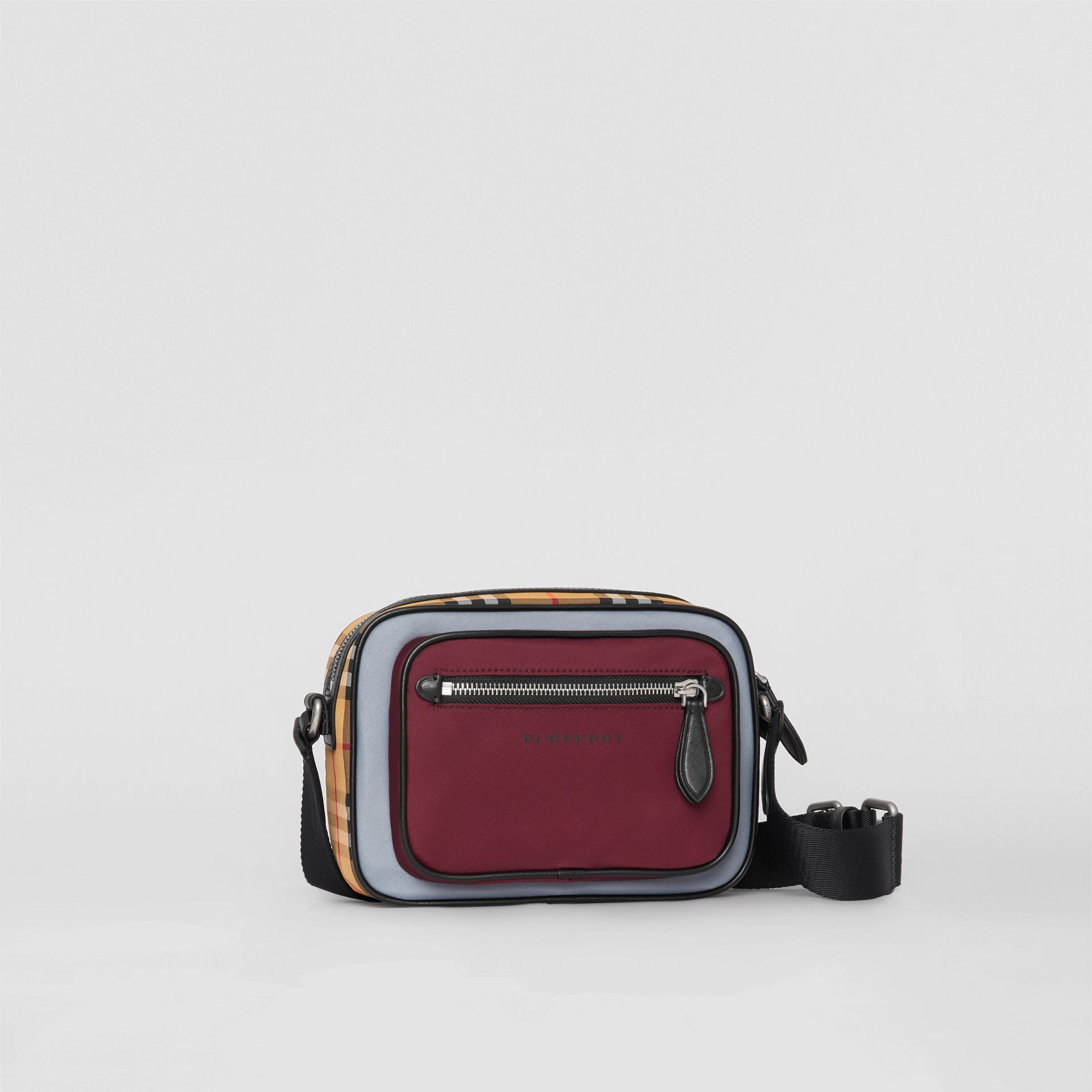 Colour Block Vintage Check Crossbody Bag in Oxblood - Men | Burberry Australia - gallery image 5