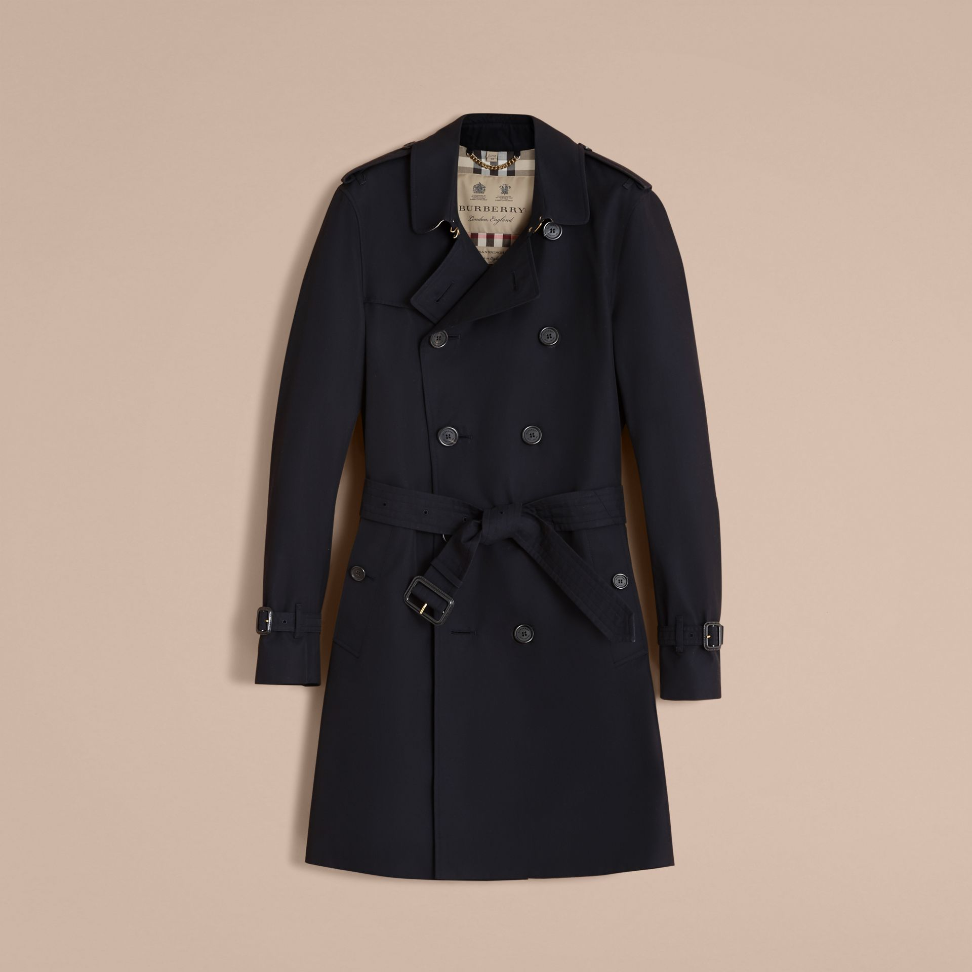 The Sandringham – Long Heritage Trench Coat in Navy - gallery image 4
