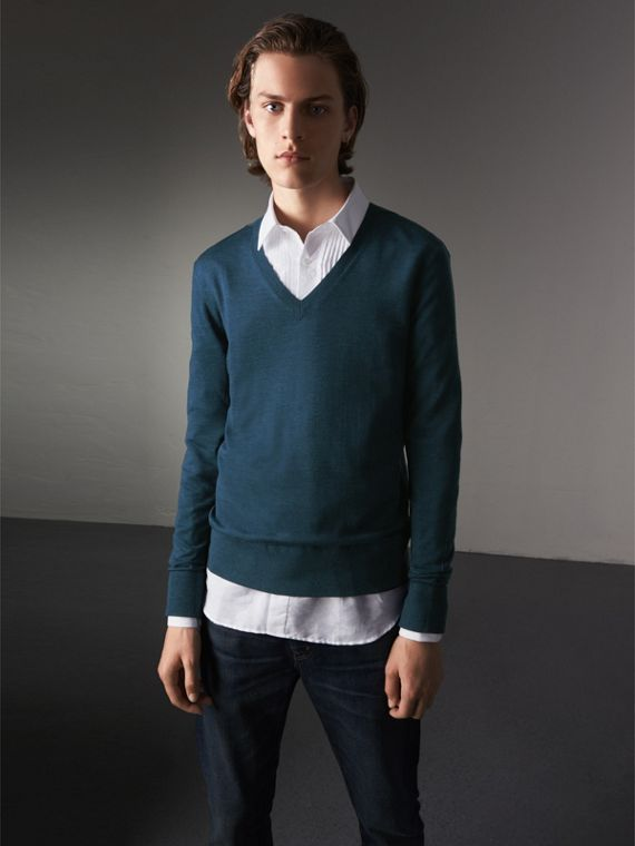 Merino Wool V-neck Sweater in Steel Blue