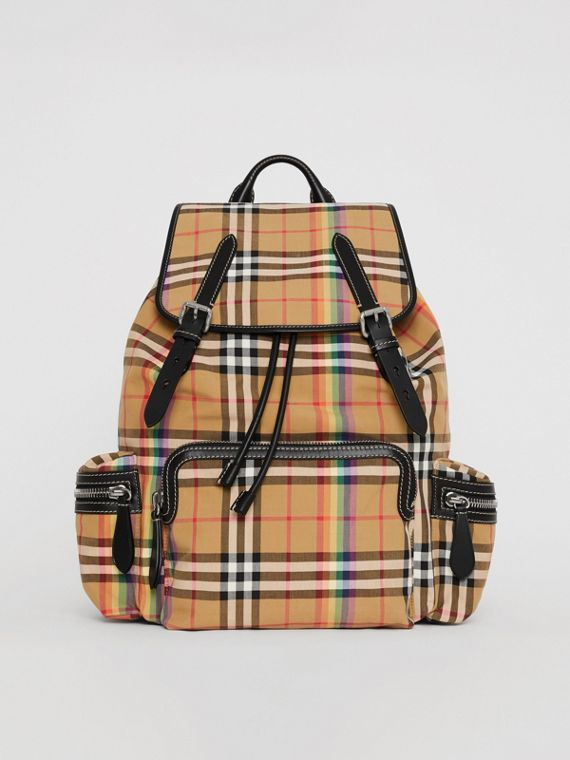 The Large Rucksack in Rainbow Vintage Check in Antique Yellow