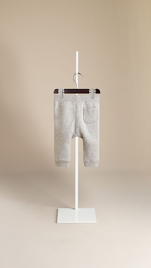 Pale grey melange Cotton-Blend Drawcord Trousers - Image 2