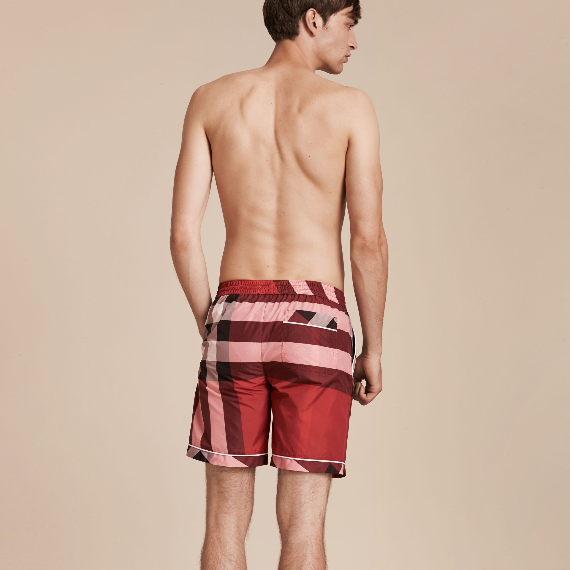 Check Print Swim Shorts with Piping Detail Parade Red - gallery image 3