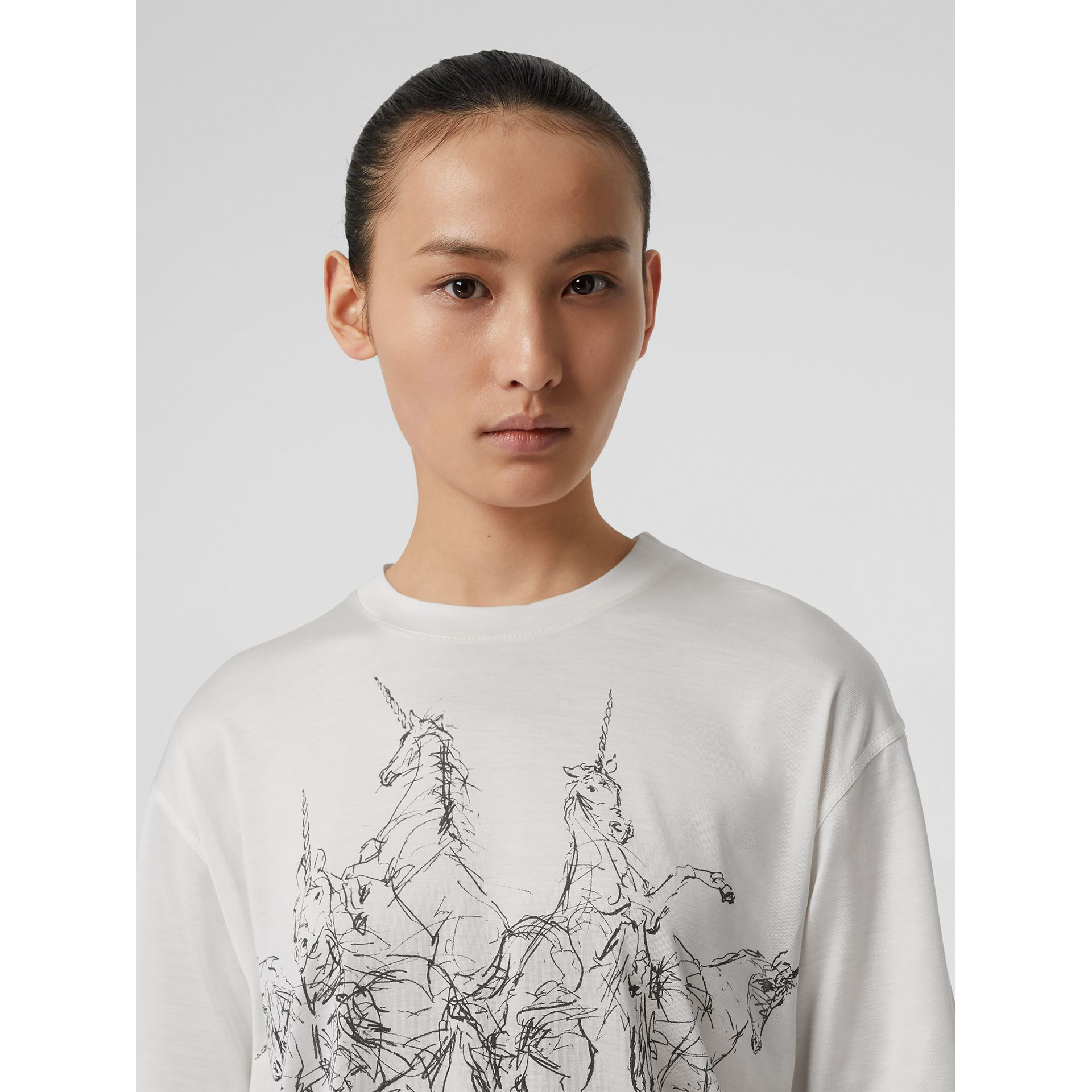 Unicorn Sketch Print Jersey Oversized T-shirt in White - Women | Burberry - gallery image 1