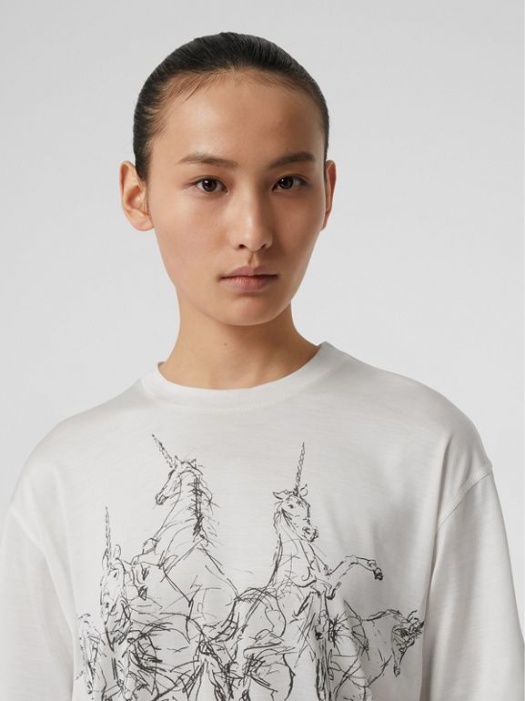 Unicorn Sketch Print Jersey Oversized T-shirt in White - Women | Burberry - cell image 1